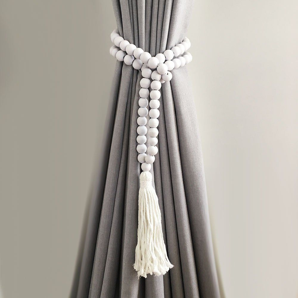 Single White Bohemian Bead And Tassel Curtain Tieback Curtain