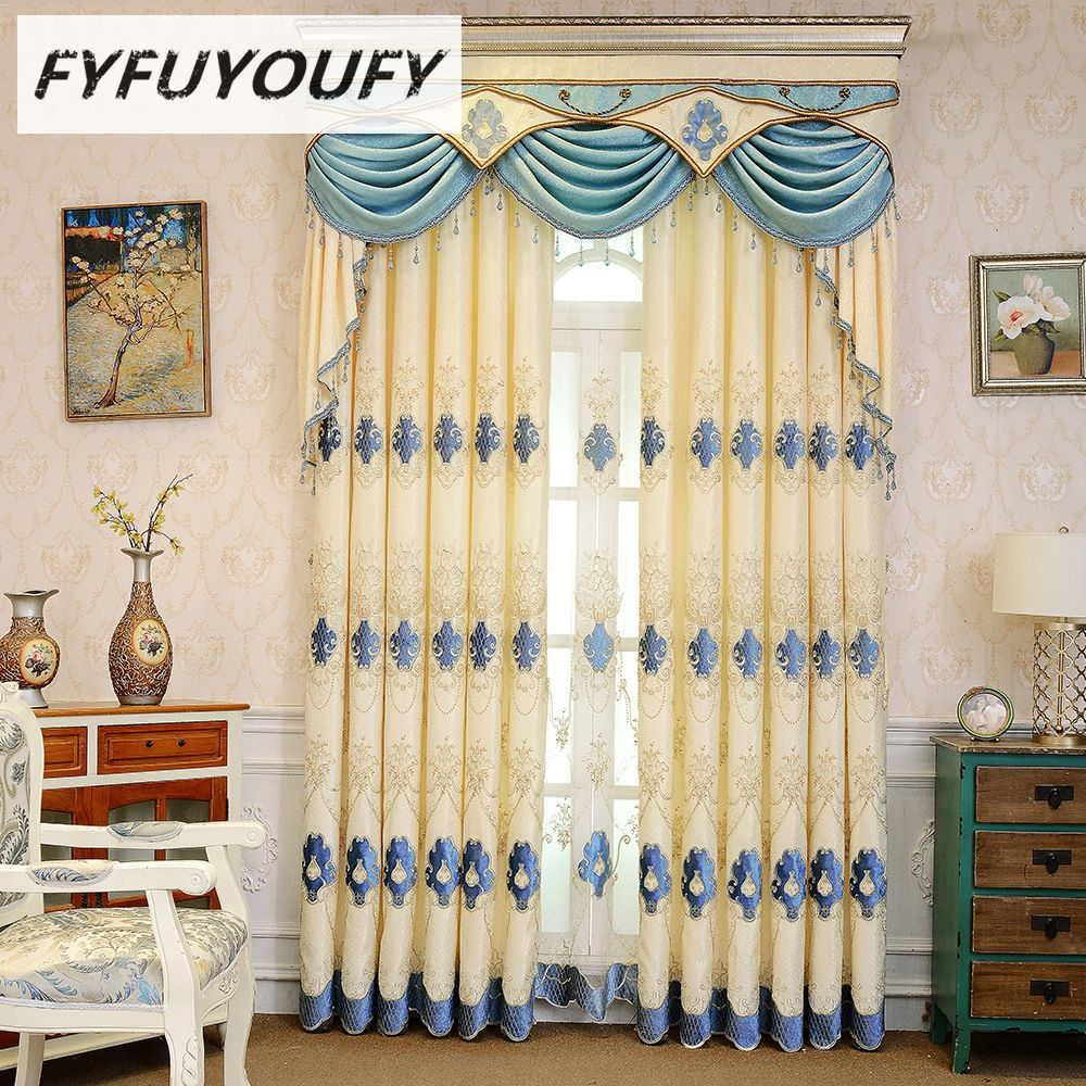 European embroidered blackout curtains for living room with luxury