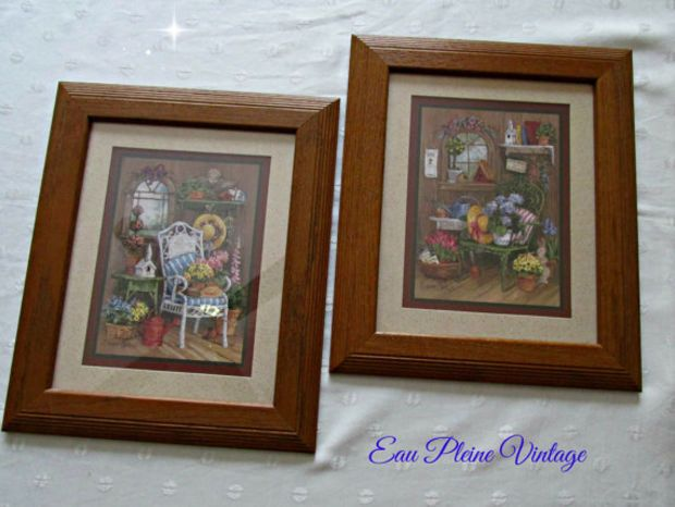 Home Interiors Gifts Vintage Homco Framed Set Country Floral Garden