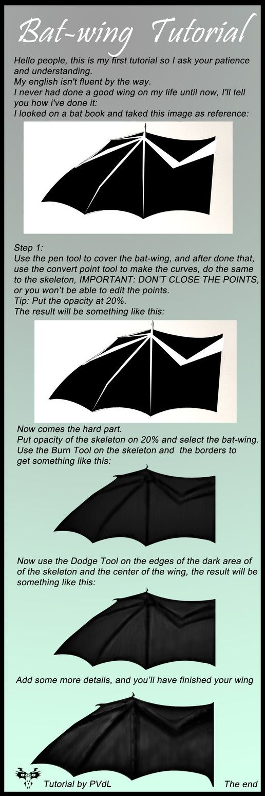 a tutorial of how to make a realistic bat wing full view on the