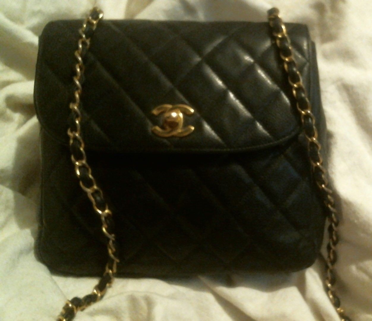 e5dfeb23e39a Details about CHANEL Red Caviar Quilted Mini Square Flap w  Gold ...