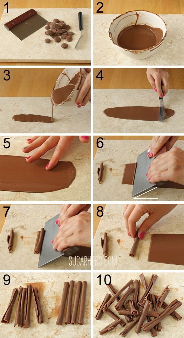 How to make chocolate curls from for Chocolat decoration