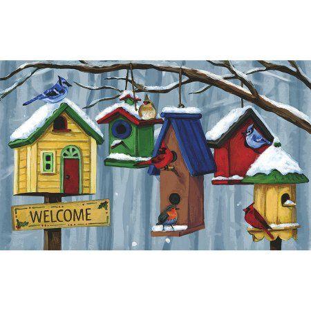 Welcome Birdhouses Burlap Doormat