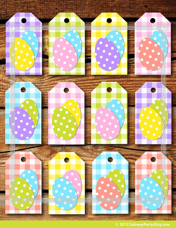 Printable easter gift tags pastel color gingham by subwayparty off printable easter gift tags diy in gingham pattern with fun polka dot easter eggs in classic easter pastel colors negle