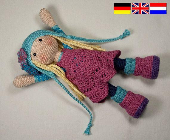 Nota: este listado está para un patrón de ganchillo para hacer la muñeca en la foto y no de un terminado producto  Este patrón está disponible en