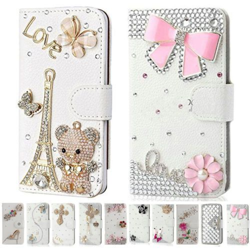Crystal Diamonds Leather Stand Wallet Cover Case For Huawei
