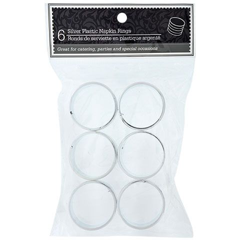 Bulk Round Silver Plastic Napkin Rings 6ct Packs at DollarTree