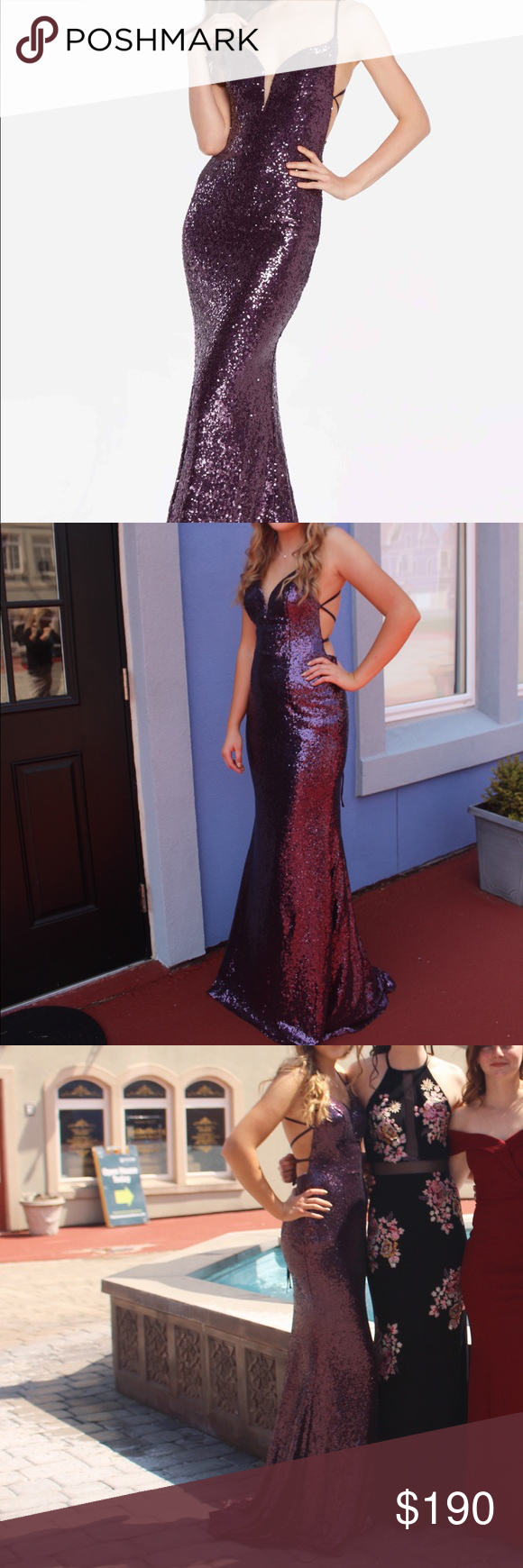 "7ab80264 Alyce 60032 sequin prom dress in color ""eggplant"" Bought new at a boutique  for $255 (with tax) worn once for prom I am open to offers, I need to sell  it in ..."