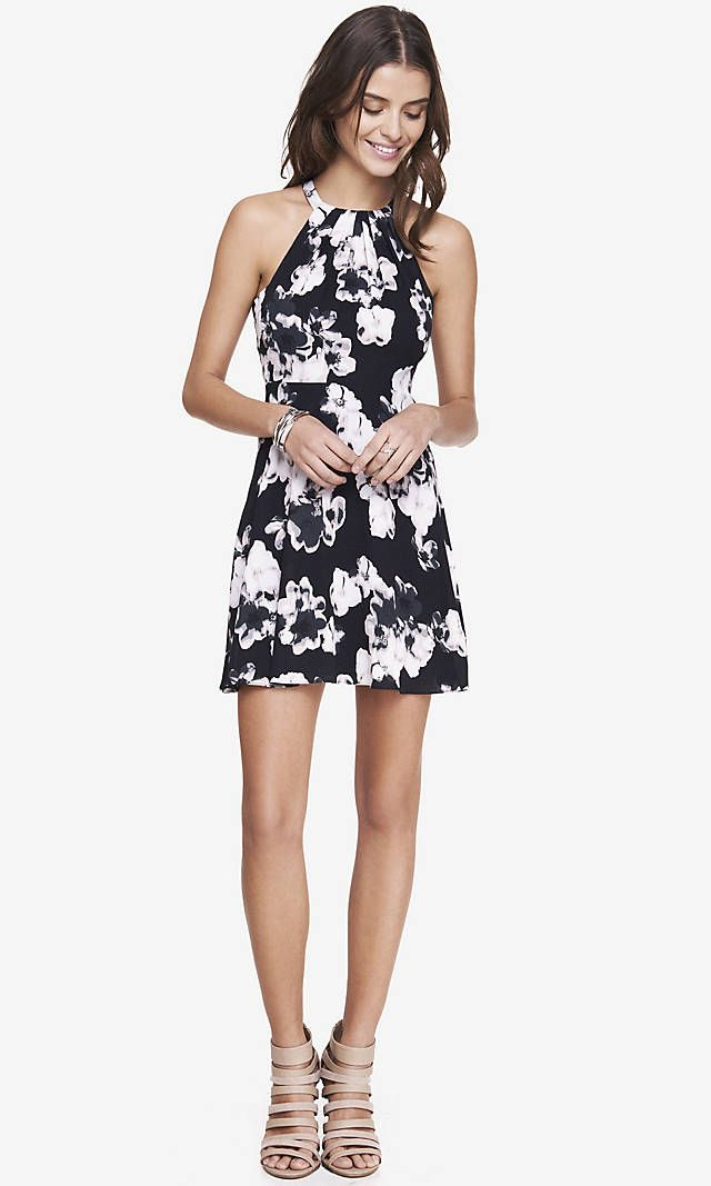 513c03979c722 FLORAL PRINT FIT AND FLARE HALTER DRESS | Express | Love 4 fashion ...