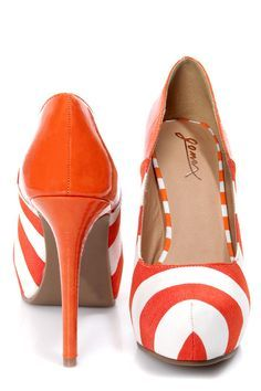 GoMax Cheap Trick  Orange and White Striped Platform Pumps from Lulu's