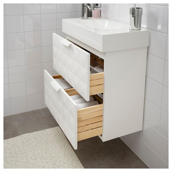 Godmorgon Sink Cabinet With 4 Drawers High Gloss White 55 1 8x18 1 2x22 7 8 Ikea