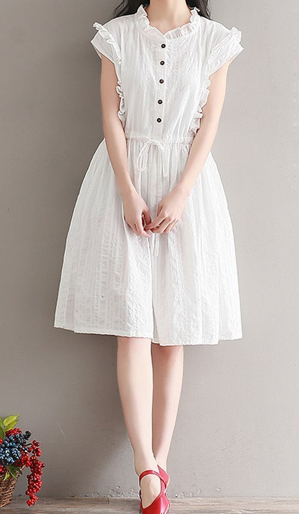 Women Loose Fitting Over Plus Size White Cotton Dress Button Skirt