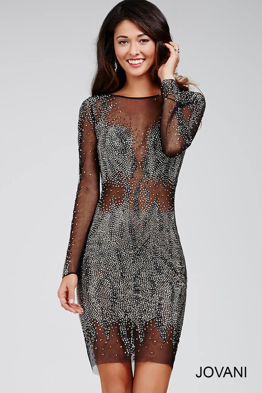 Jovani Dress 28610 Black Sheer Short Dress With Long Sleeves And Crystal Embellishments Sheer Long Sleeve Dress Dresses Sheer Dress [ 1500 x 1000 Pixel ]
