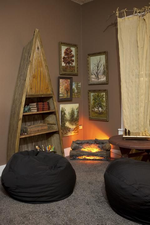 Super Room For 9 Year Old Boy Complete With Powwow Nook With Electric Fire Logs Modern Day Huck Finn Bo Camping Theme Bedroom Little Boys Rooms Bedroom Themes