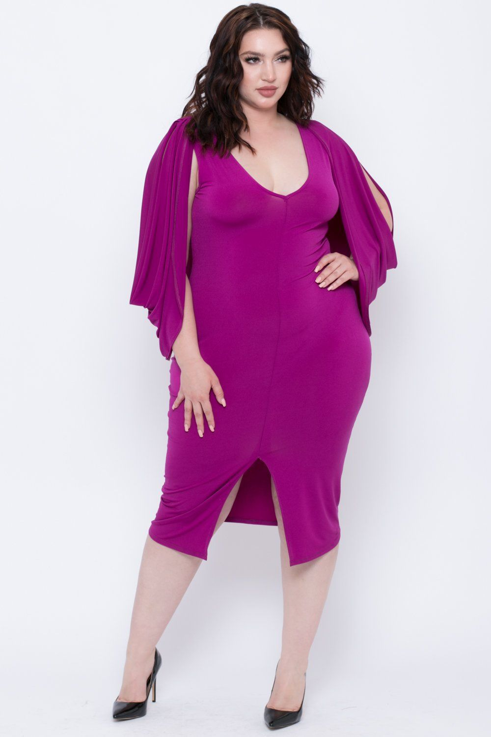 01aa6aa96861c This plus size Grecian goddess inspired cocktail dress features  stretch-knit fabric