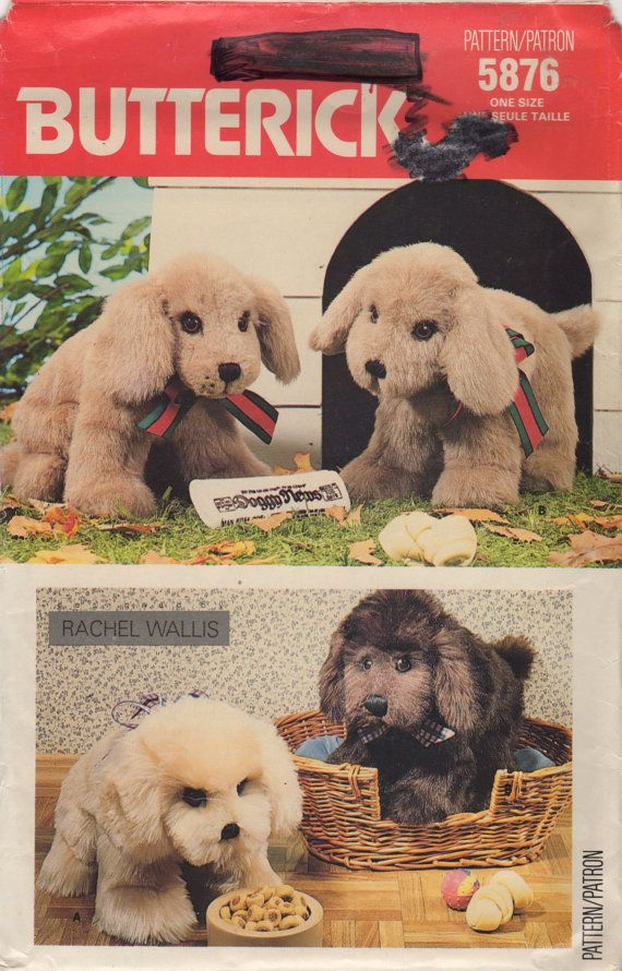 Butterick 5876 1980s Stuffed Puppies Pattern Vintage Toy Sewing ...