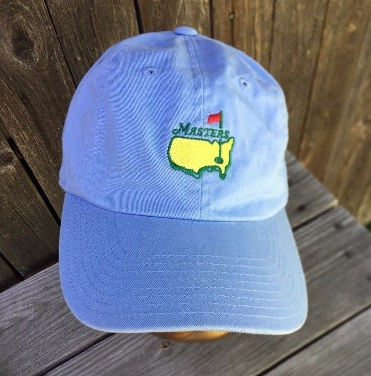 eac8e01360fbe Official Masters Tournament Augusta Caddy Slouch Golf Hat in Blue Adjustable   AmericanNeedle
