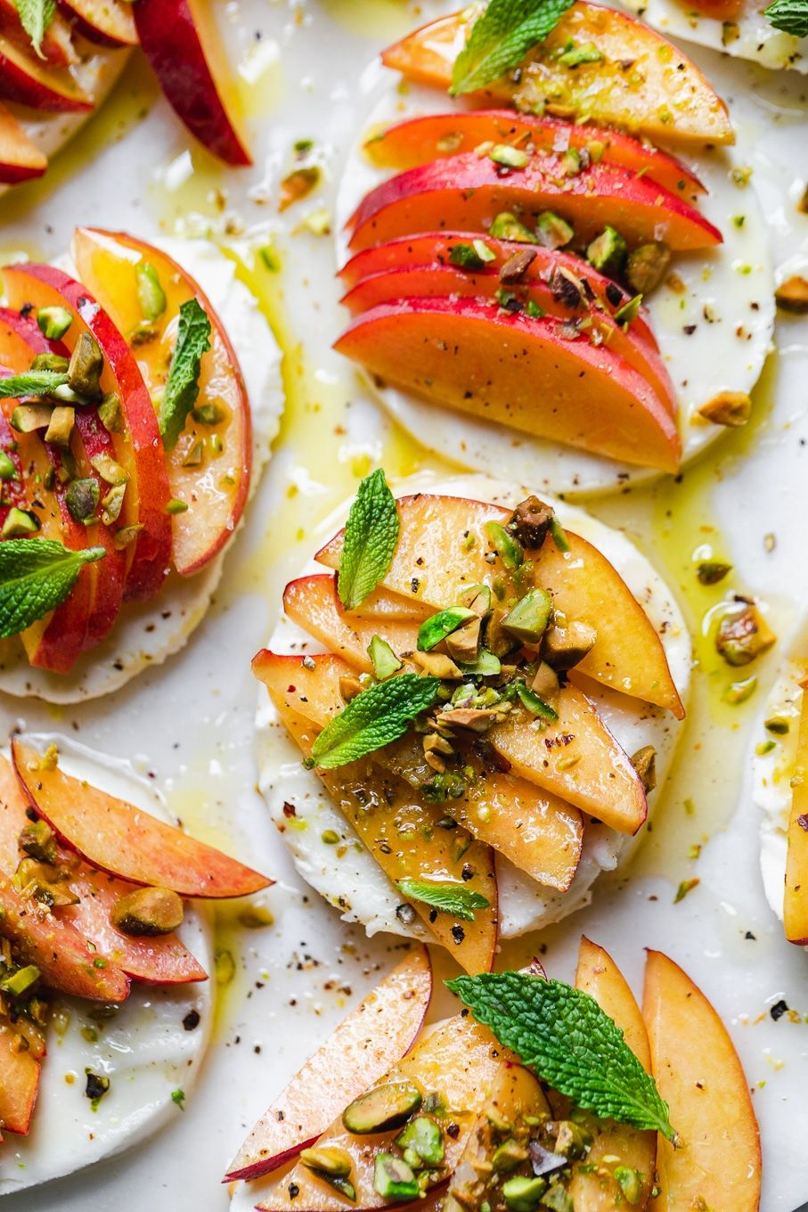 Peach Caprese with Mint, Pistachios, and Honey images