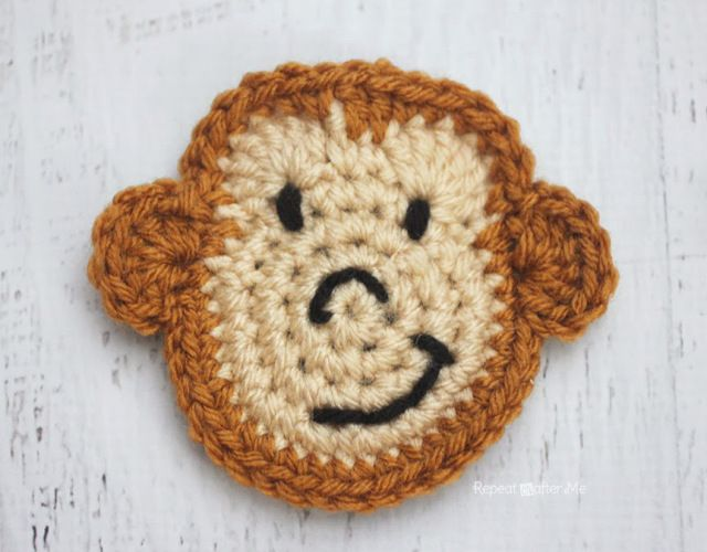 M Is For Monkey Crochet Monkey Applique Hooked