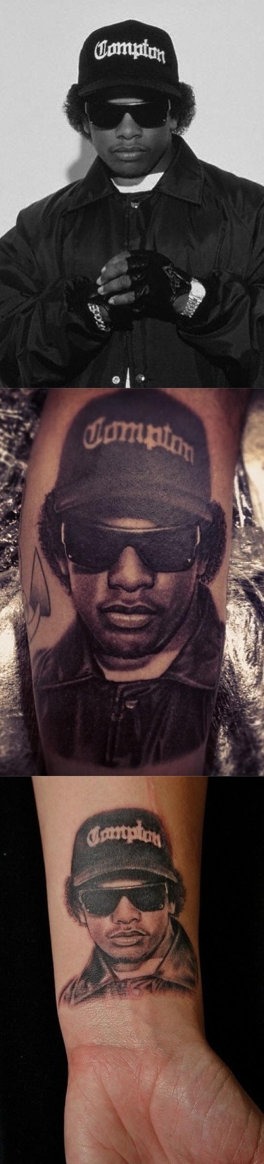 Eazy E Tattoo Compton Tattoos Leg Tattoos E Tattoo