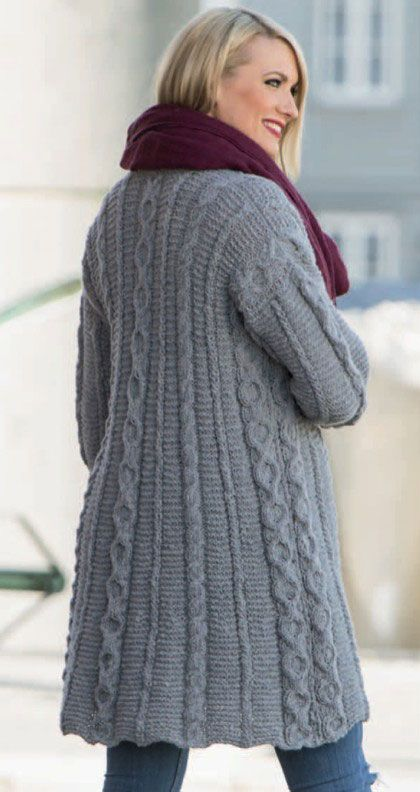 Long Cardigan with Cables and Textures | knit sweaters by Anne ...