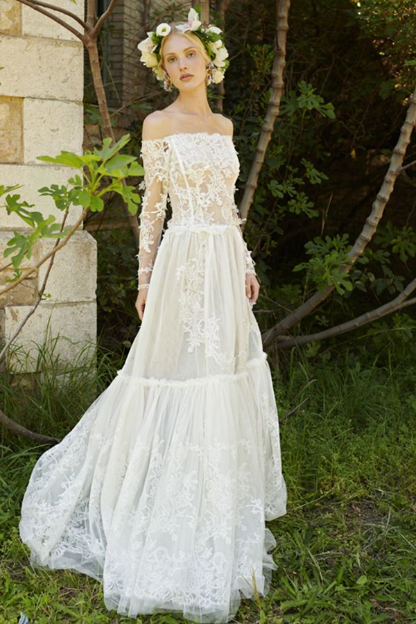 40aa6e9c865a393 WedLuxe – Costarellos Spring 2019 Collection Romantic Bohemian Wedding  Dresses, Unusual Wedding Dresses, Off