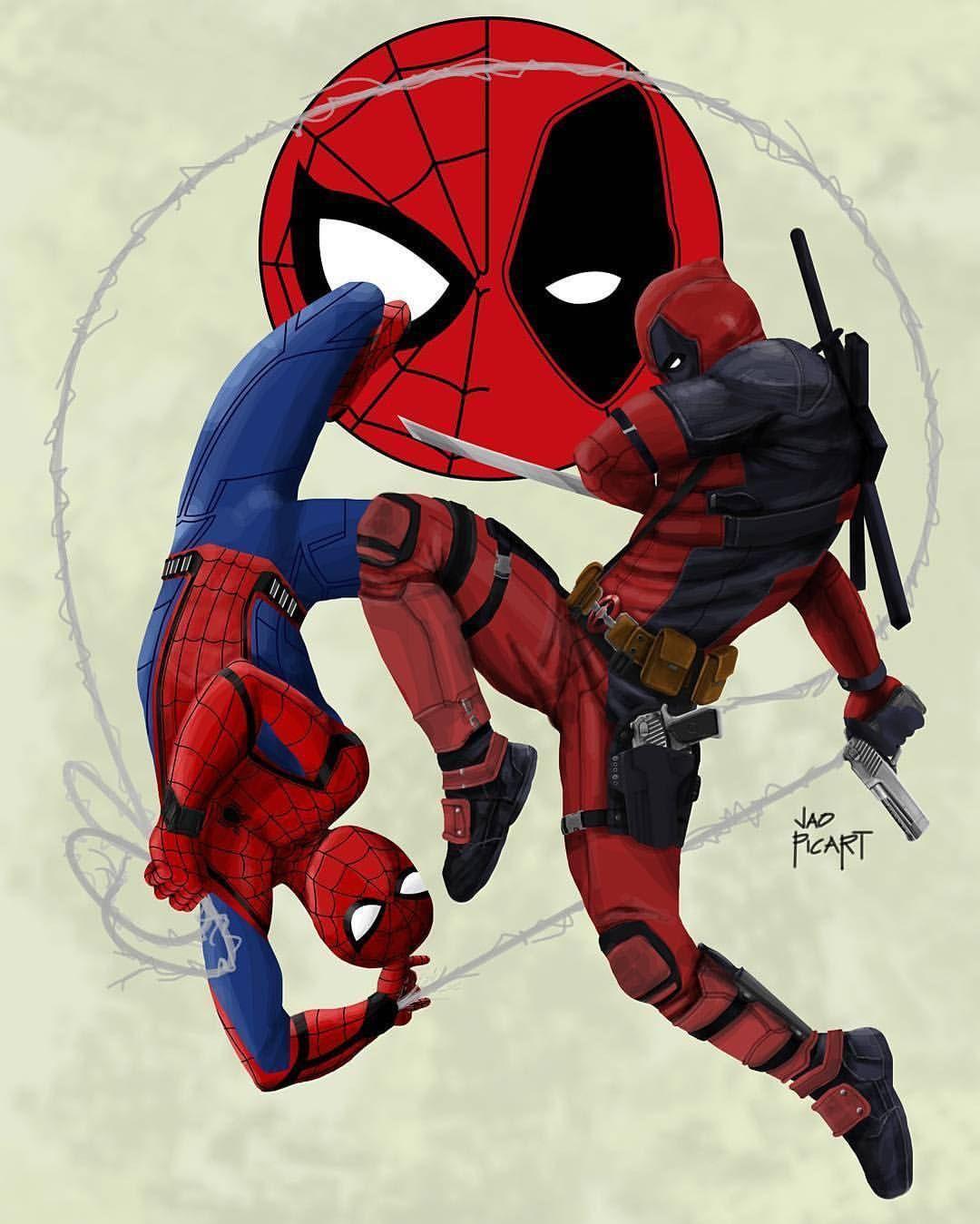 Deadpool And Spider Man 1: By Jaopicksart Spider-Man: Homecoming & Deadpool Crossover
