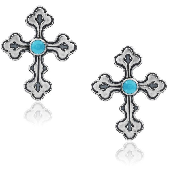 Journee Collection Sterling Silver Handmade Turquoise Cross Earrings ($35) ❤ liked on Polyvore featuring jewelry, earrings, silver, cross stud earrings, sterling silver butterfly earrings, long earrings, butterfly earrings and turquoise earrings