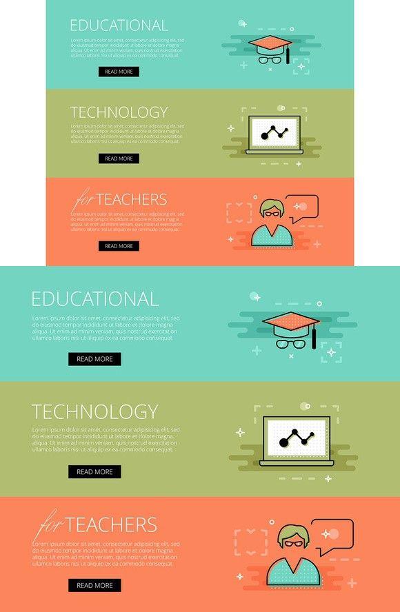 Ed Tech for Teachers banner set. Web Elements. $3.00