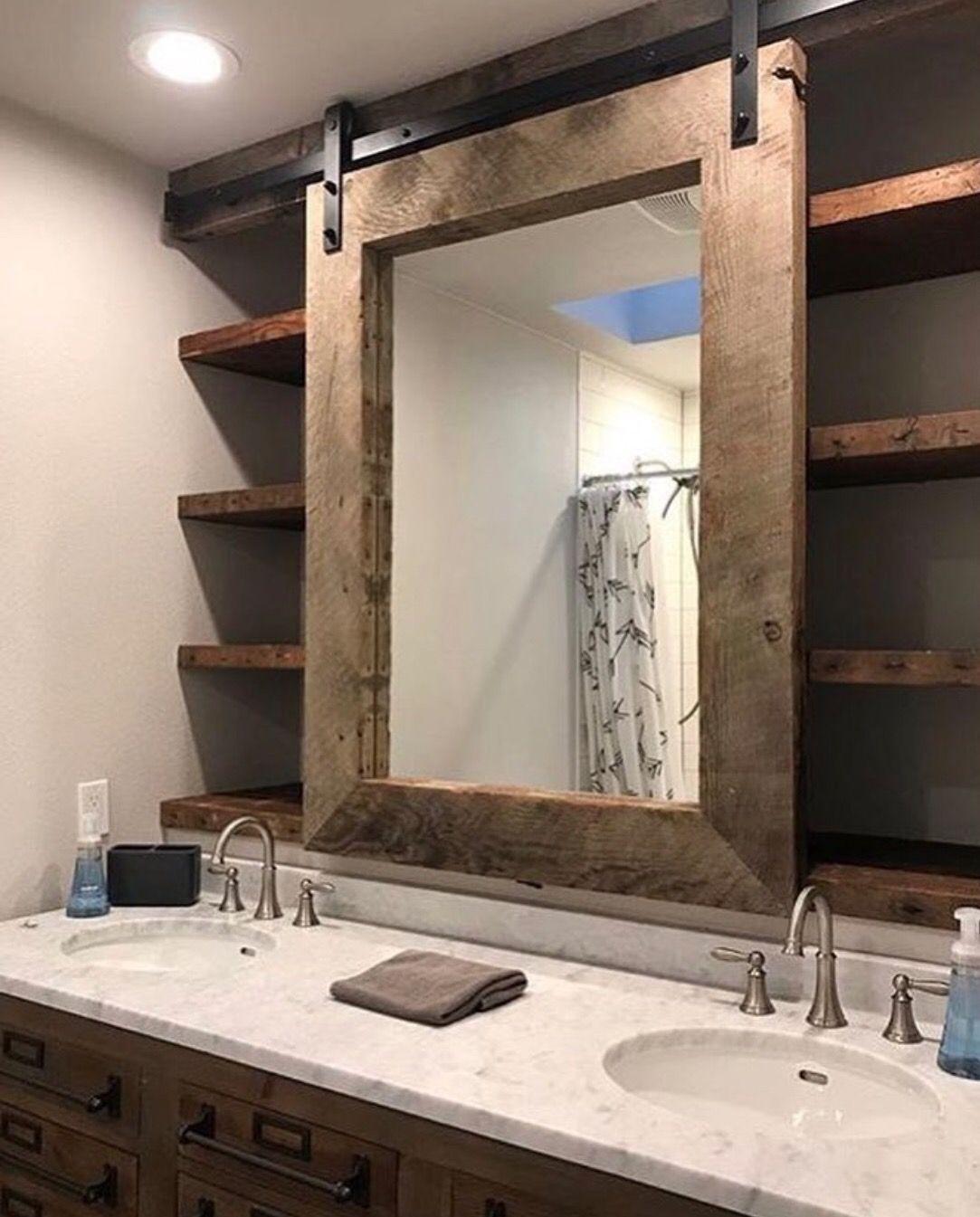 Mirror with shelf, white wood, farmhouse style country