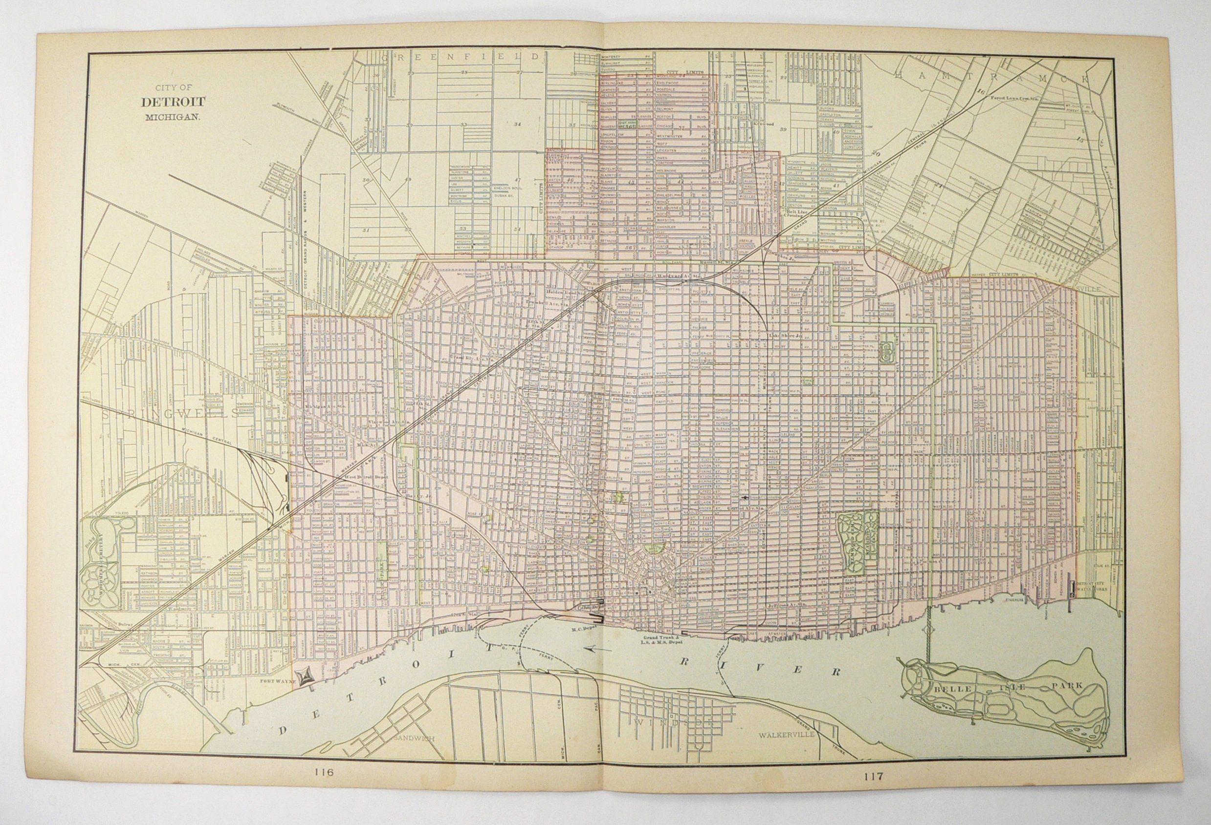 Vintage Detroit Michigan Map 1900 Cram Atlas Map With Bay City Mi And Grand Rapids Mi Original Antique Map Available F Detroit Map Minneapolis Map Antique Map