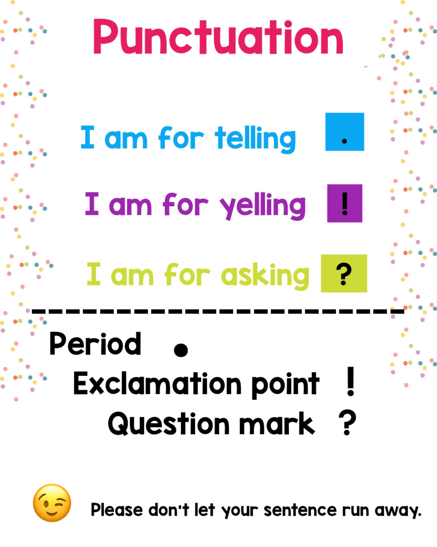 Punctuation In Kindergarten Punctuation Marks Kindergarten Teaching Punctuation Teaching Sentences [ 1800 x 1440 Pixel ]