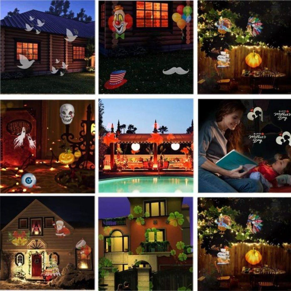 Yesido Outdoor Yard Led Landscape Projector Light Holiday 15 Slides For Christmas Halloween Party Wedding And Garden D Light Decorations Halloween Party Halloween