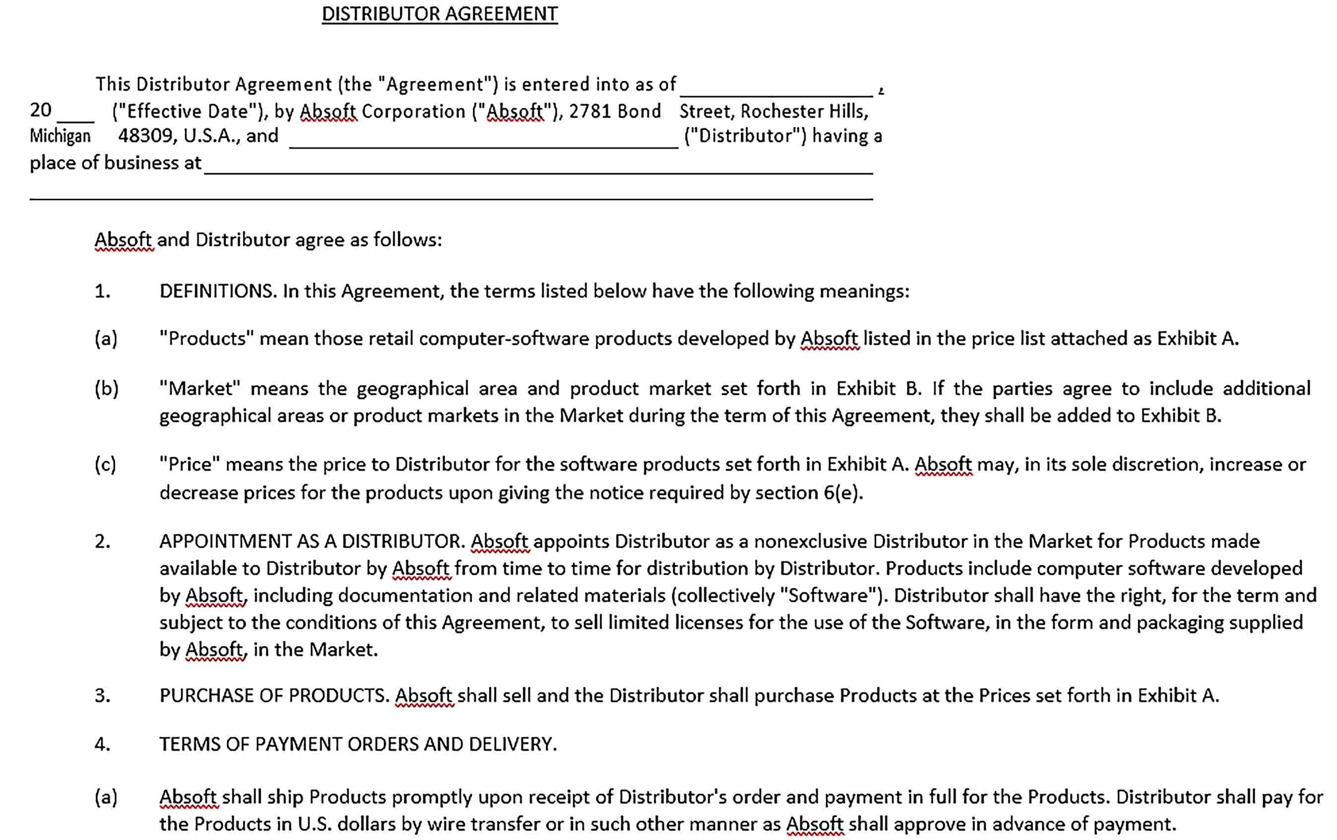 Sample Distribution Agreement Template