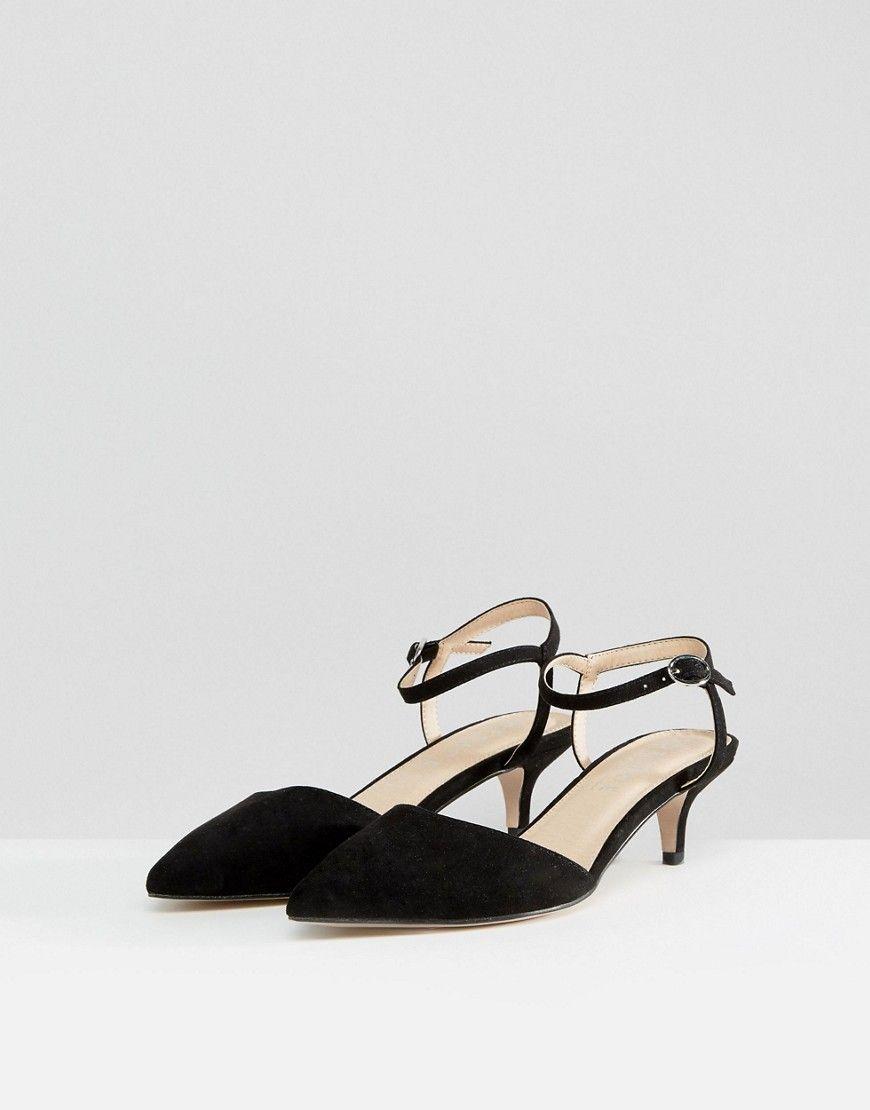 Office Mitten Kitten Heeled Shoes Black Kitten Heel Shoes