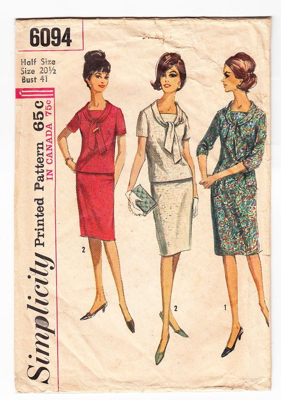 Vintage 1965 Simplicity 6094 Sewing Pattern Misses\', Women\'s One or ...