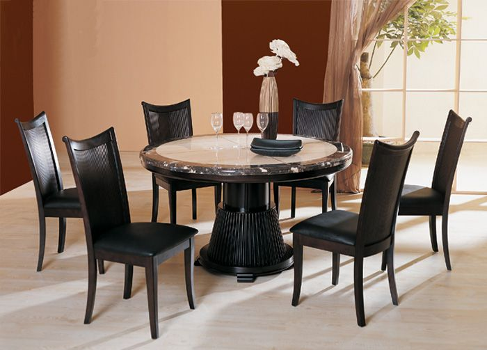 Bari Round Marble Top Espresso Table With Chairs Dining Table