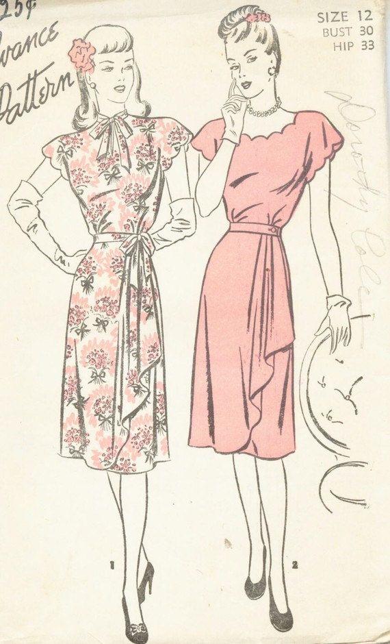 Vintage 1940\'s Drape Front Dress: love that floral print version ...
