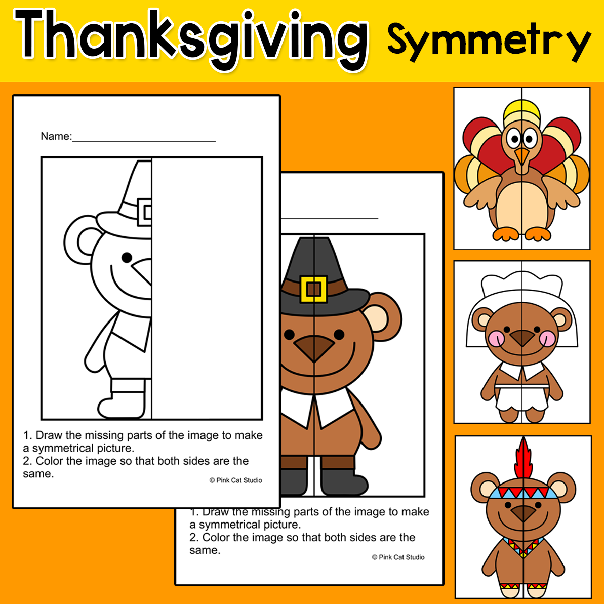 Thanksgiving Math Worksheets Lines Of Symmetry Activity