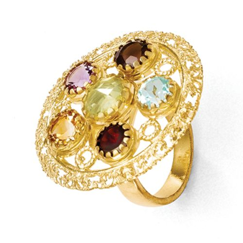 Sterling Silver Gold-plated Multi-Color Gemstone Ring $189