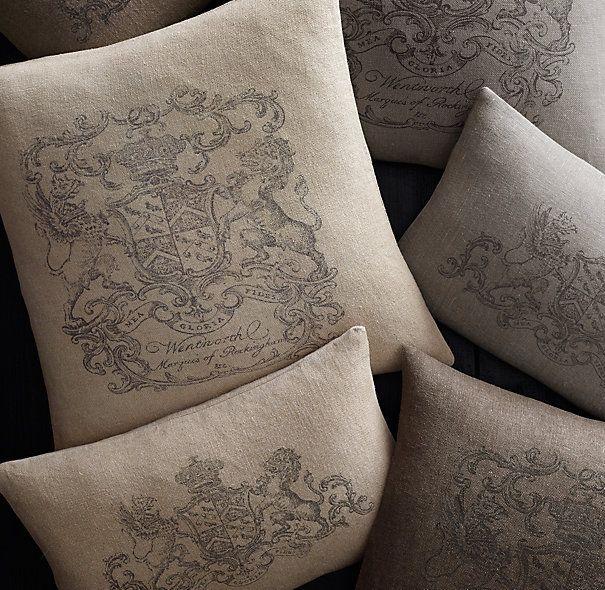 Wentworth Crest Vintage Washed Belgian Linen Pillow Covers Linen Pillow Covers Linen Pillows Belgian Linen