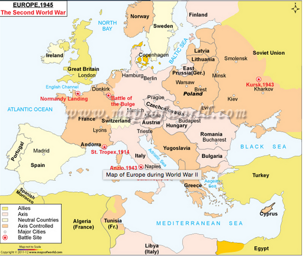 The two fighting forces of world war ii were the axis powers and the ww2 map of europe gumiabroncs Gallery