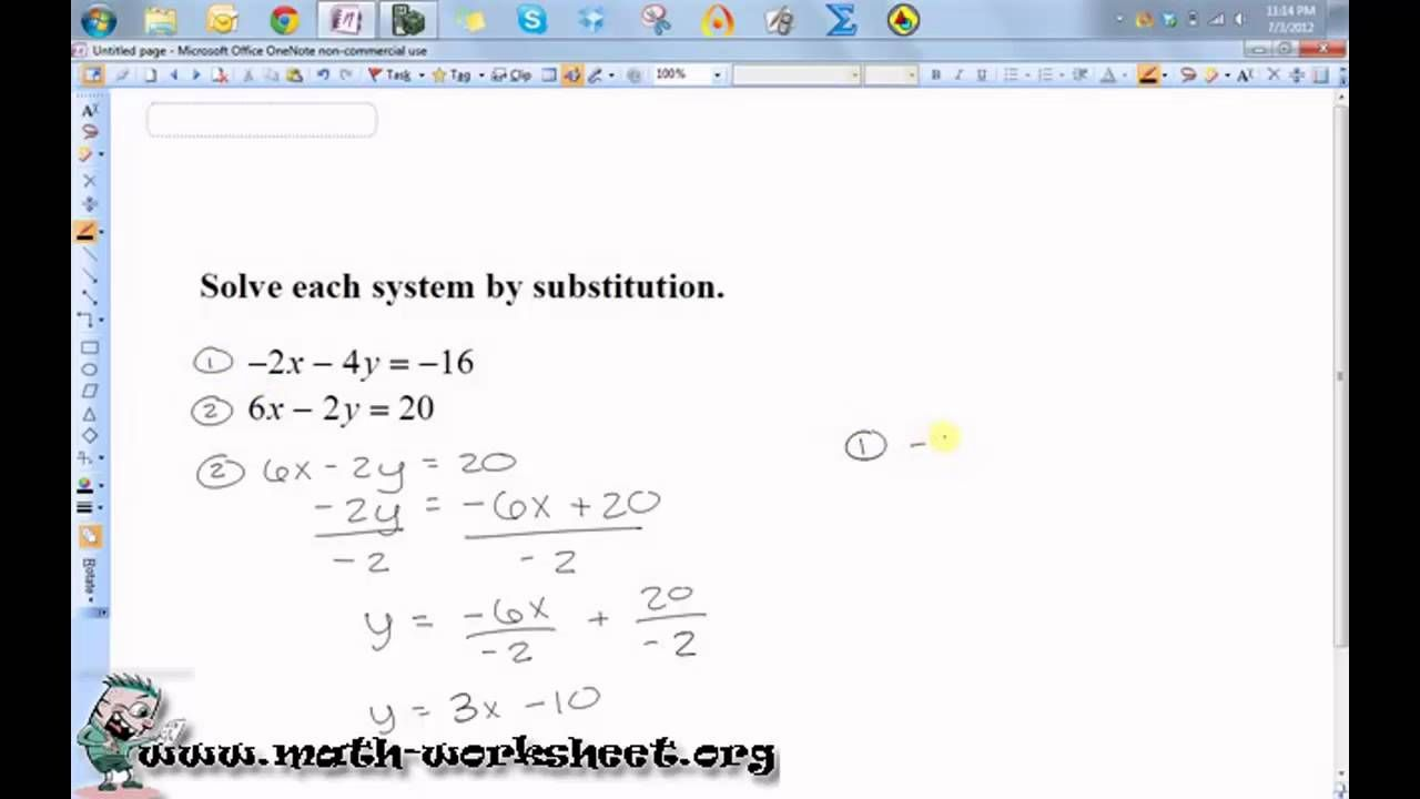 Algebra Systems Of Equations And Inequalities Solving By Substitution Systems Of Equations Free Math Worksheets Equations [ 720 x 1280 Pixel ]