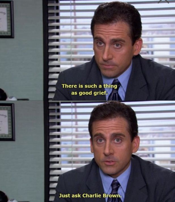 This Is Such A Thing As Good Grief Just Ask Charlie Brown Michael Scott Quotes Michael Scott Michael Scott The Office