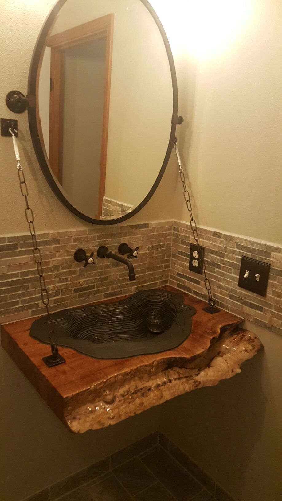Floating Live Edge Vanity With Bronze Sink Half Bath Remodel Round Mirror Bathroom Bath Remodel [ 1632 x 918 Pixel ]