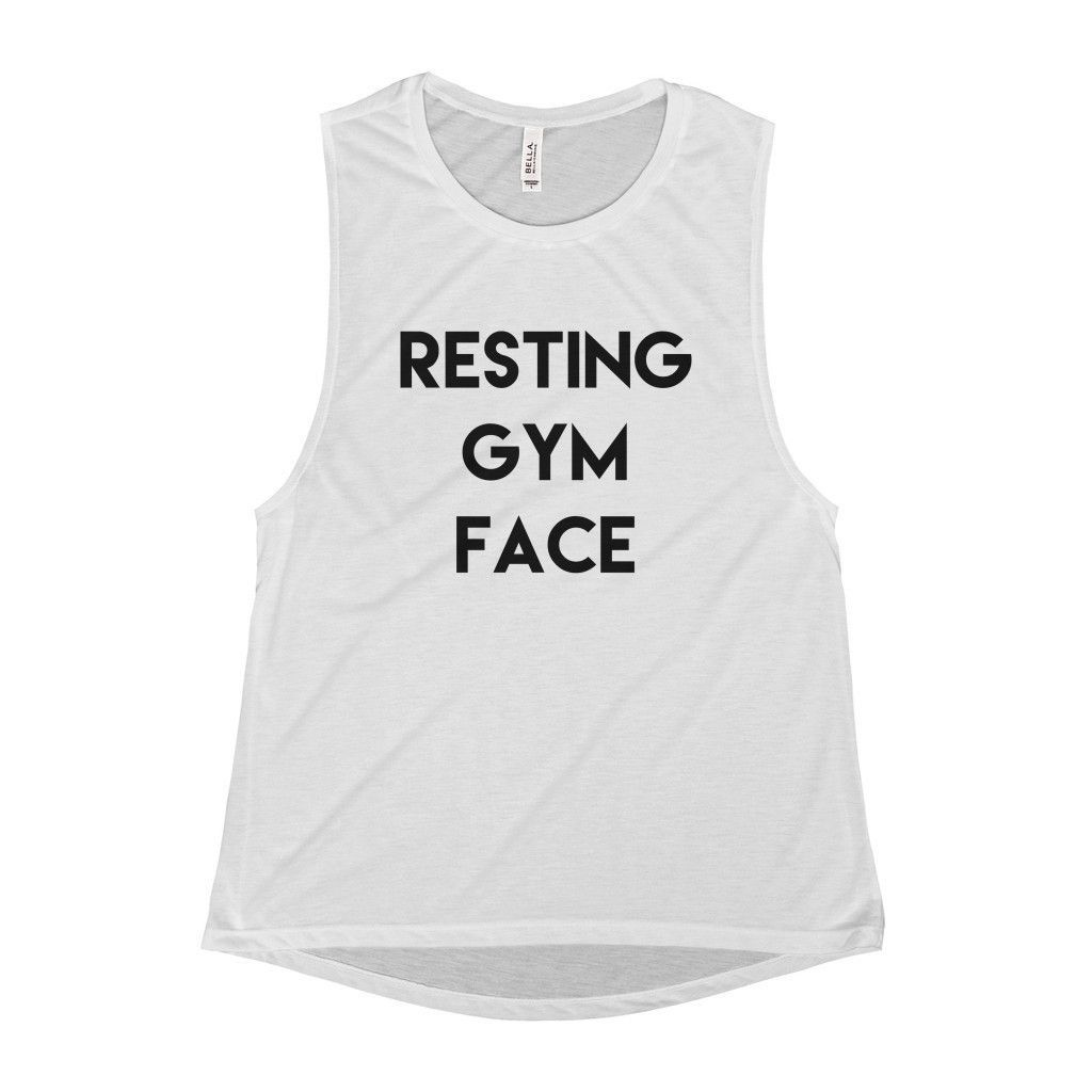 c4d043ca8f12ef Resting Gym Face Scoop Neck Muscle Tank Cute Workout Tanks
