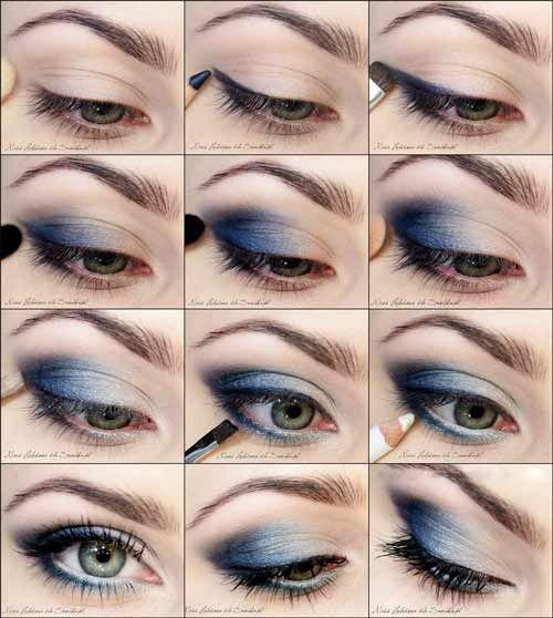 Макияж под синее платье для всех цветов глаз и волос