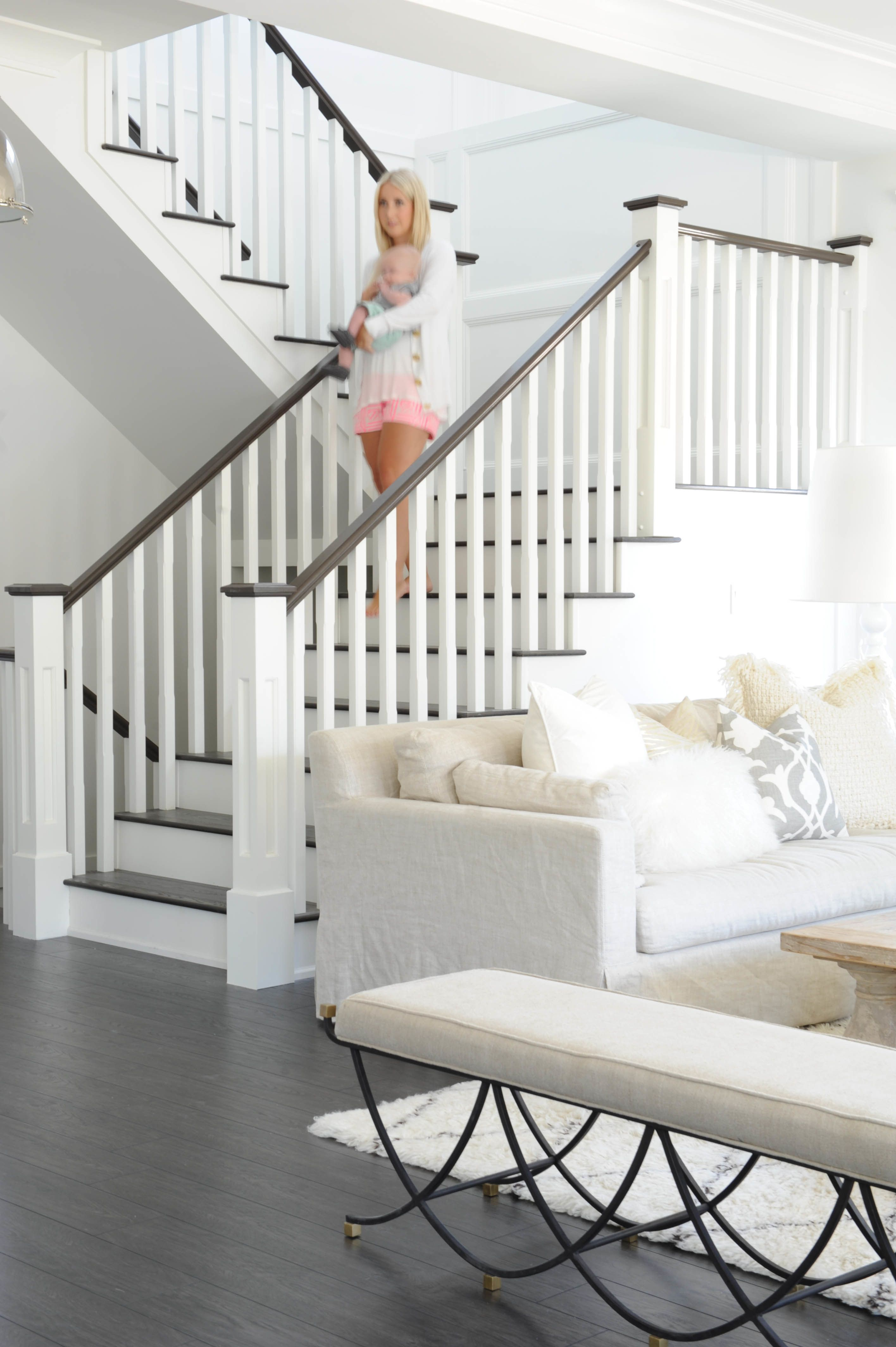 Get the Look: Fresh White Home with Pops of Pink | Staircases, Bench ...