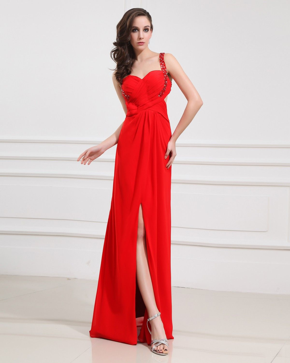 Red long chiffon prom dress proms dresses pinterest prom