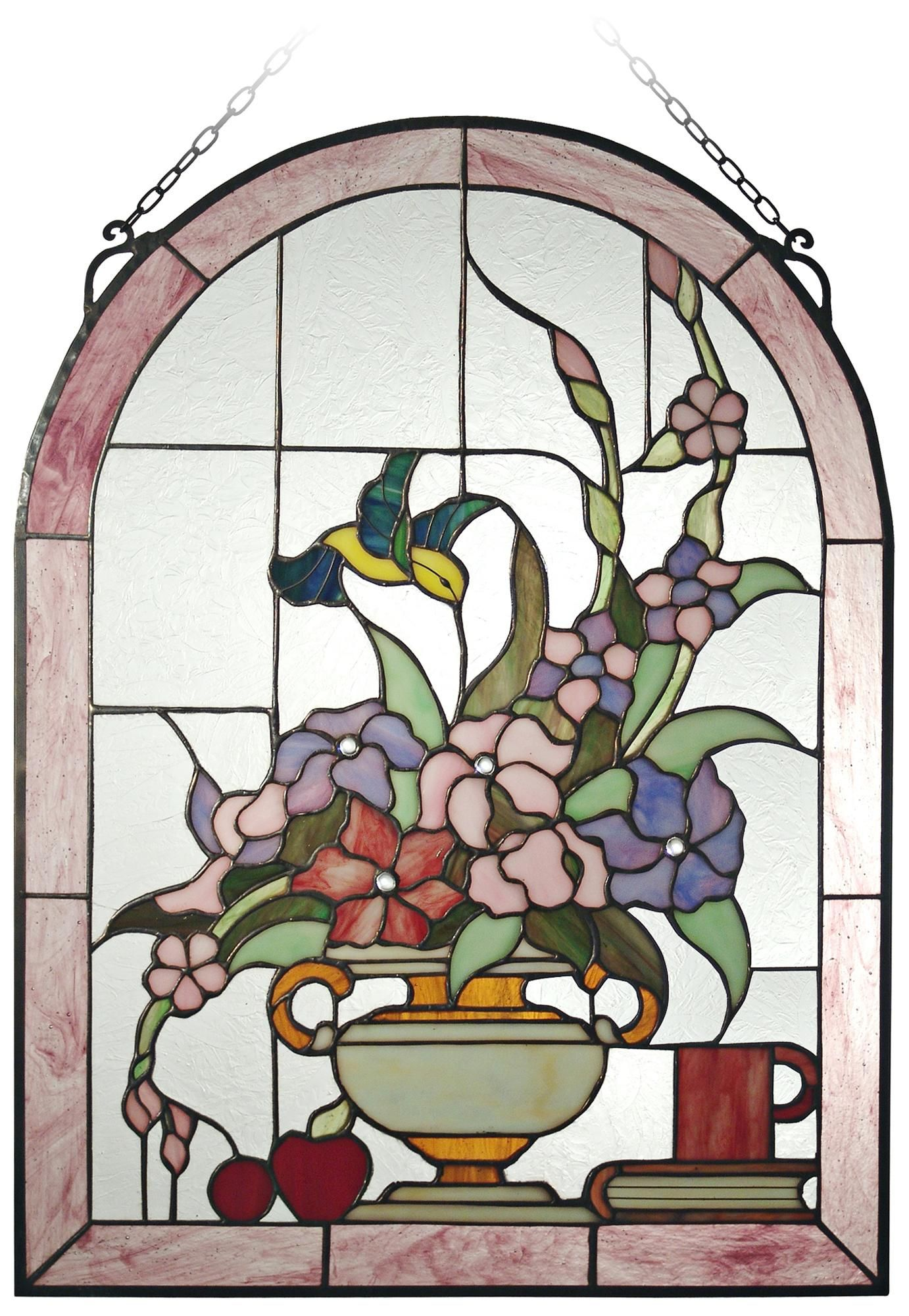 Dale Tiffany Hummingbird 24 High Art Glass Window Panel X2669 Lamps Plus Glass Window Art Dale Tiffany Stained Glass Flowers